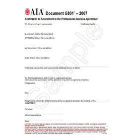 G801 Notification Of Amendment To The Professional Services Agreement