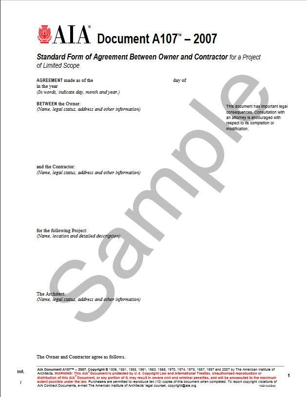A107 2007 Standard Form Of Agreement Between Owner And Contractor