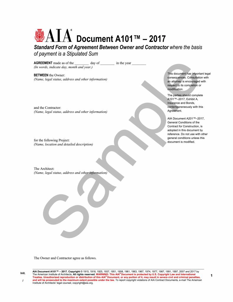 A101 2017 Standard Form Of Agreement Between Owner And Contractor