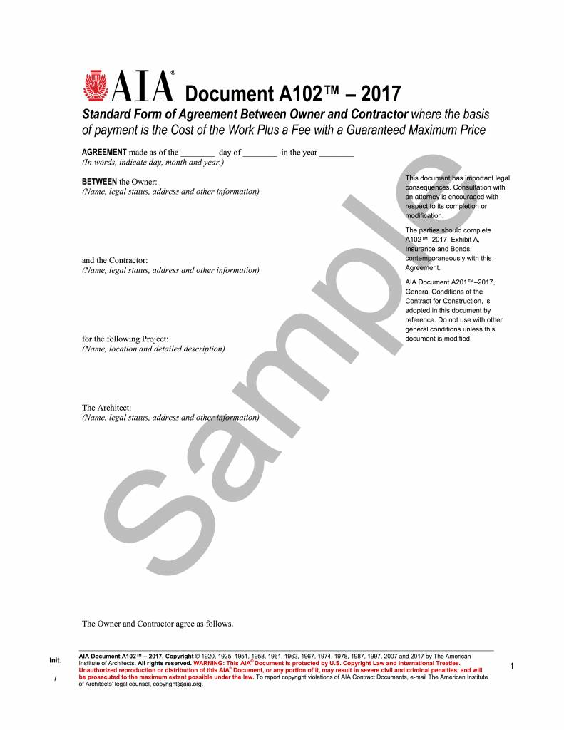 A105-2017 owner-contractor agreement for a small project – aia store.