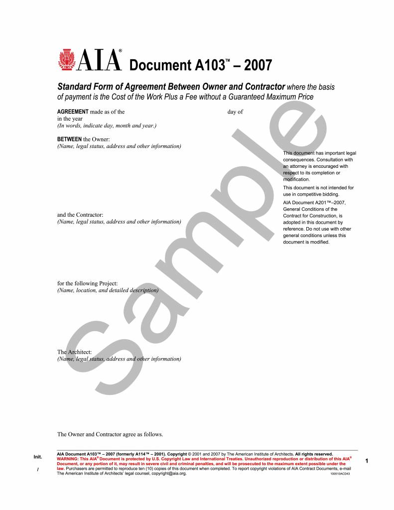 A103 2007 Standard Form Of Agreement Between Owner And Contractor