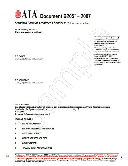 B205-2007 Standard Form Od Architects Services Historic Preservation