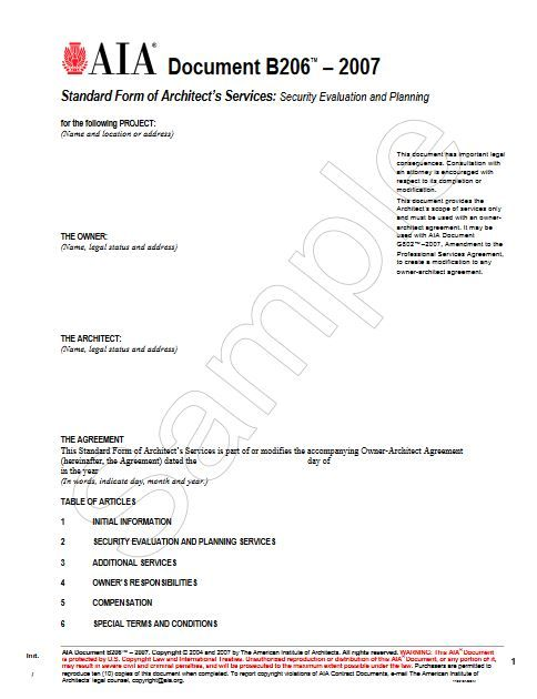 B206 Standardform Of Architects Services Security Evaluation And