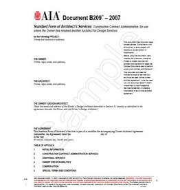 B209-2007 Architects Services;construction Contract Administration Where Owner Has Retained Another Architect