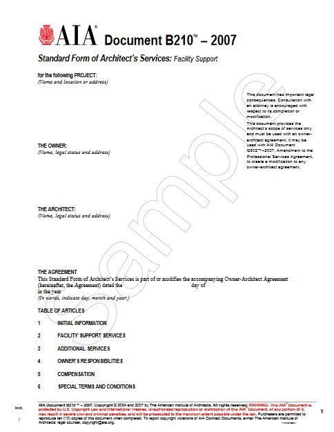B210-2007 Standard Form Of Architects Services Facility Support
