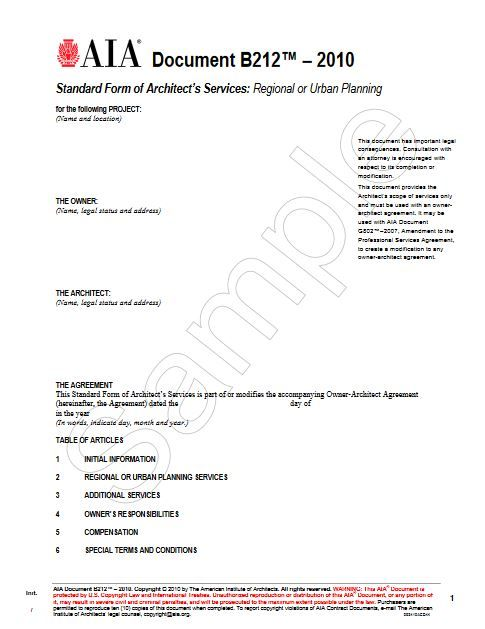 B212-2010 Standard Form of Architects Services: Regional or Urban Planning