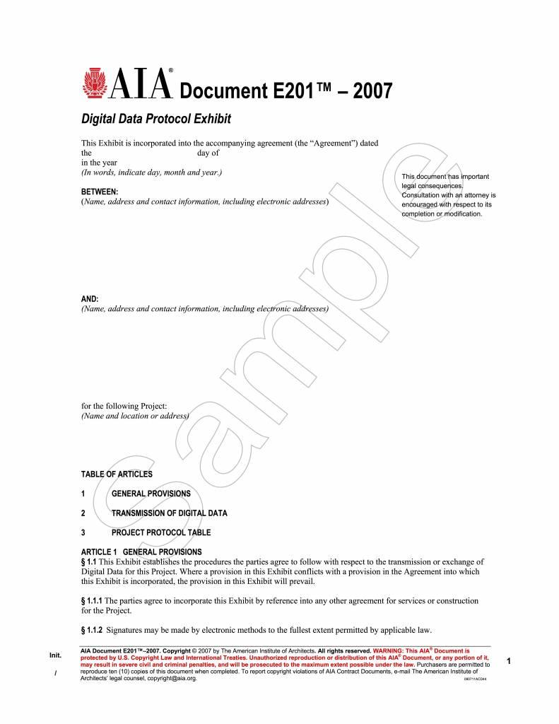 E201-2007 Digital Data Protocol Exhibit