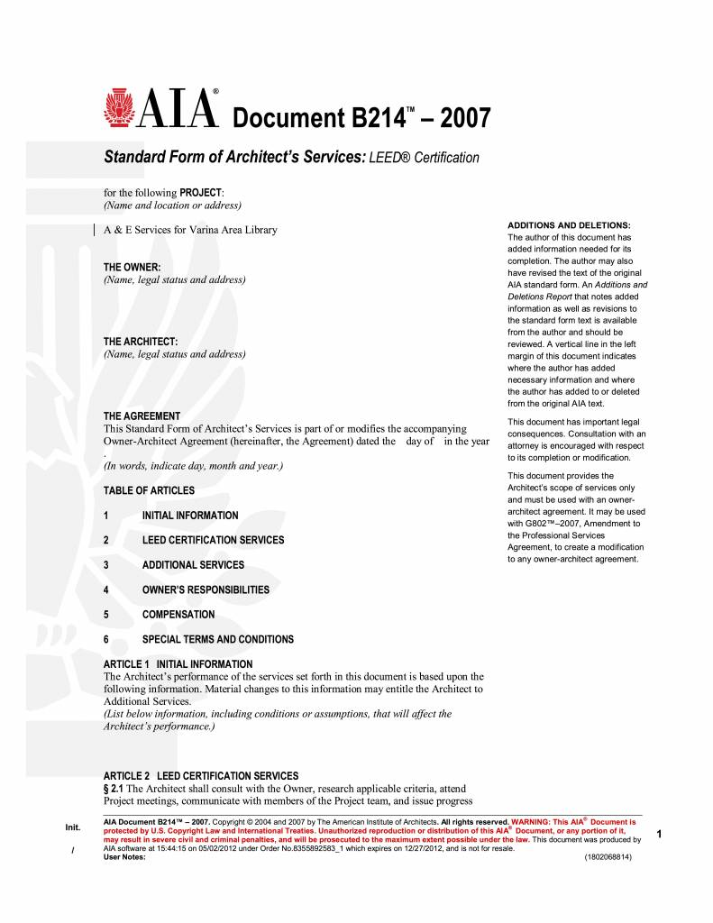B214-2007 Standard Form Of Architects Services LEED Certification