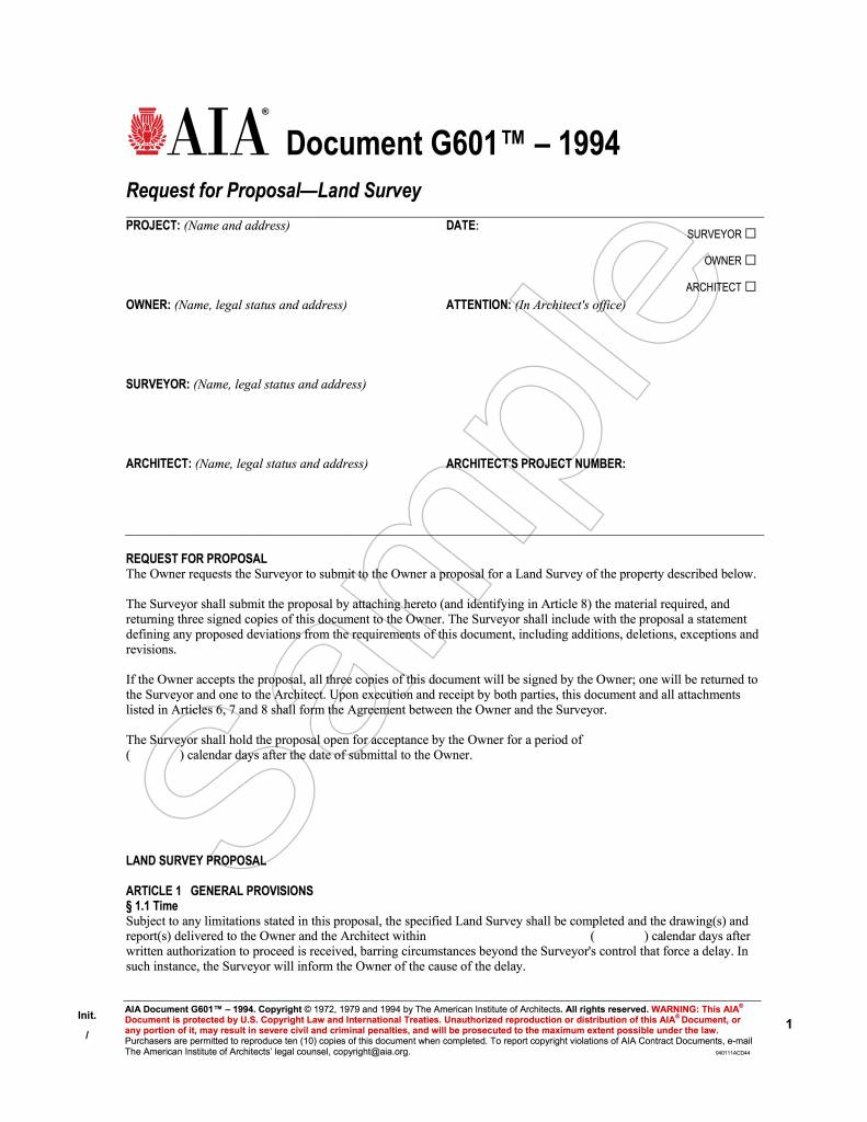 G601–1994, Request for Proposal—Land Survey