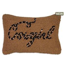 "Cowgirl Hooked Wool Lumbar Pillow 8"" x 24"""