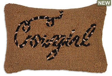 "Cowgirl Hooked Wool Lumbar Pillow 8"" x 24"""