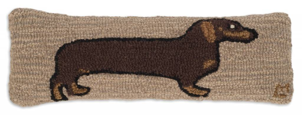 "Dachshund Hooked Wool Lumbar Pillow 8"" x 24"""