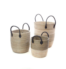 Baskets Silver w/Leather Handles