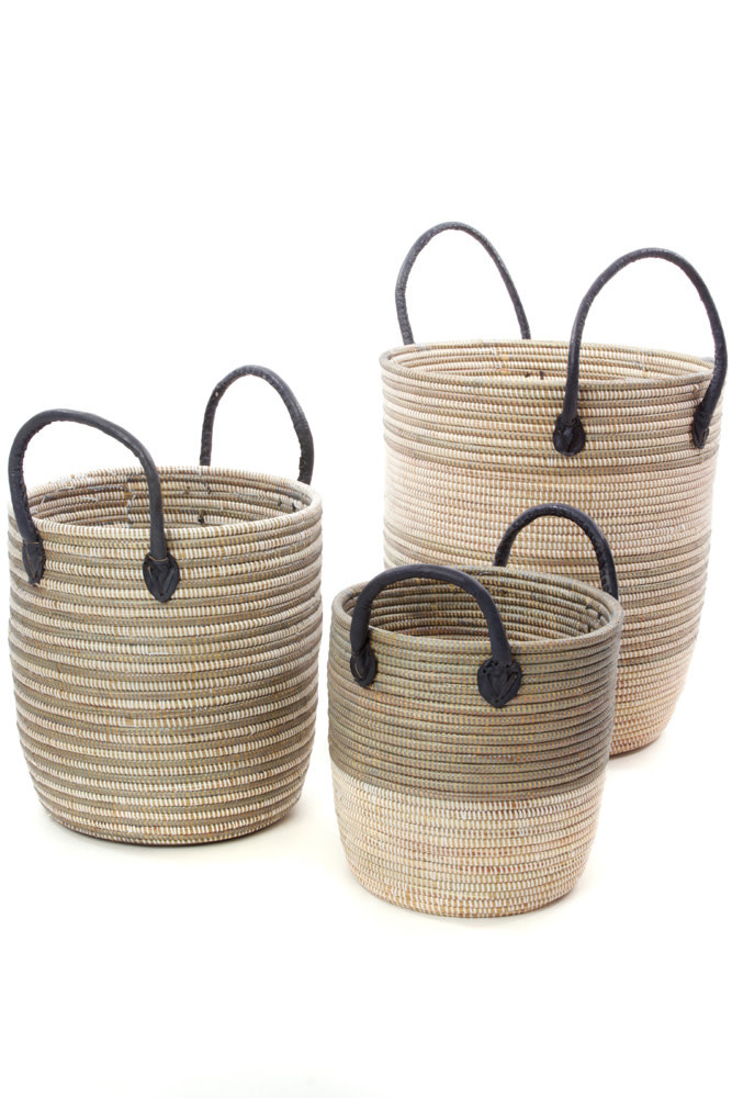 Baskets w/Leather Handles