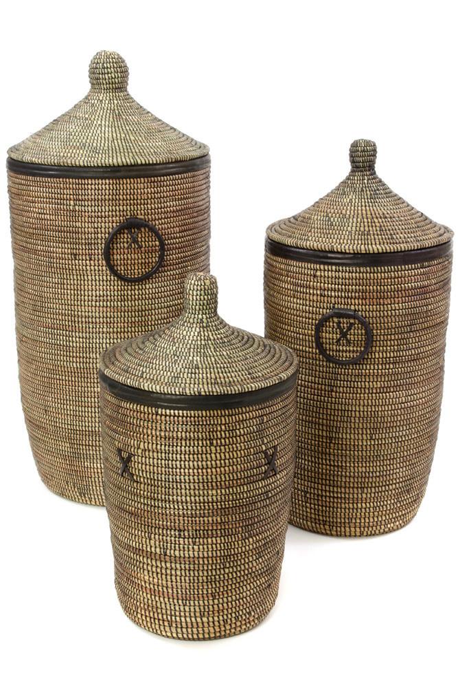 Hamper Baskets Black w/ Black leather trim