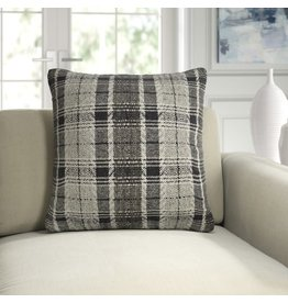Leary Plaid Graphite Throw Pillow