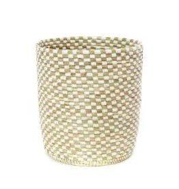 White Checkerboard Wastebasket