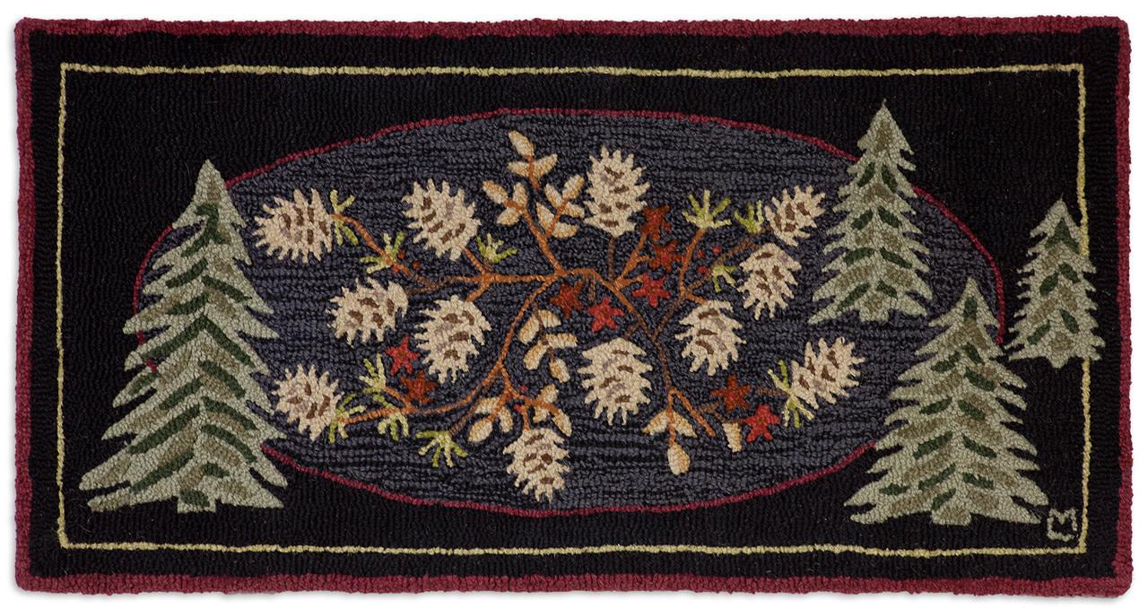 Pinecone Tree- 2x4 Hooked Wool Rug