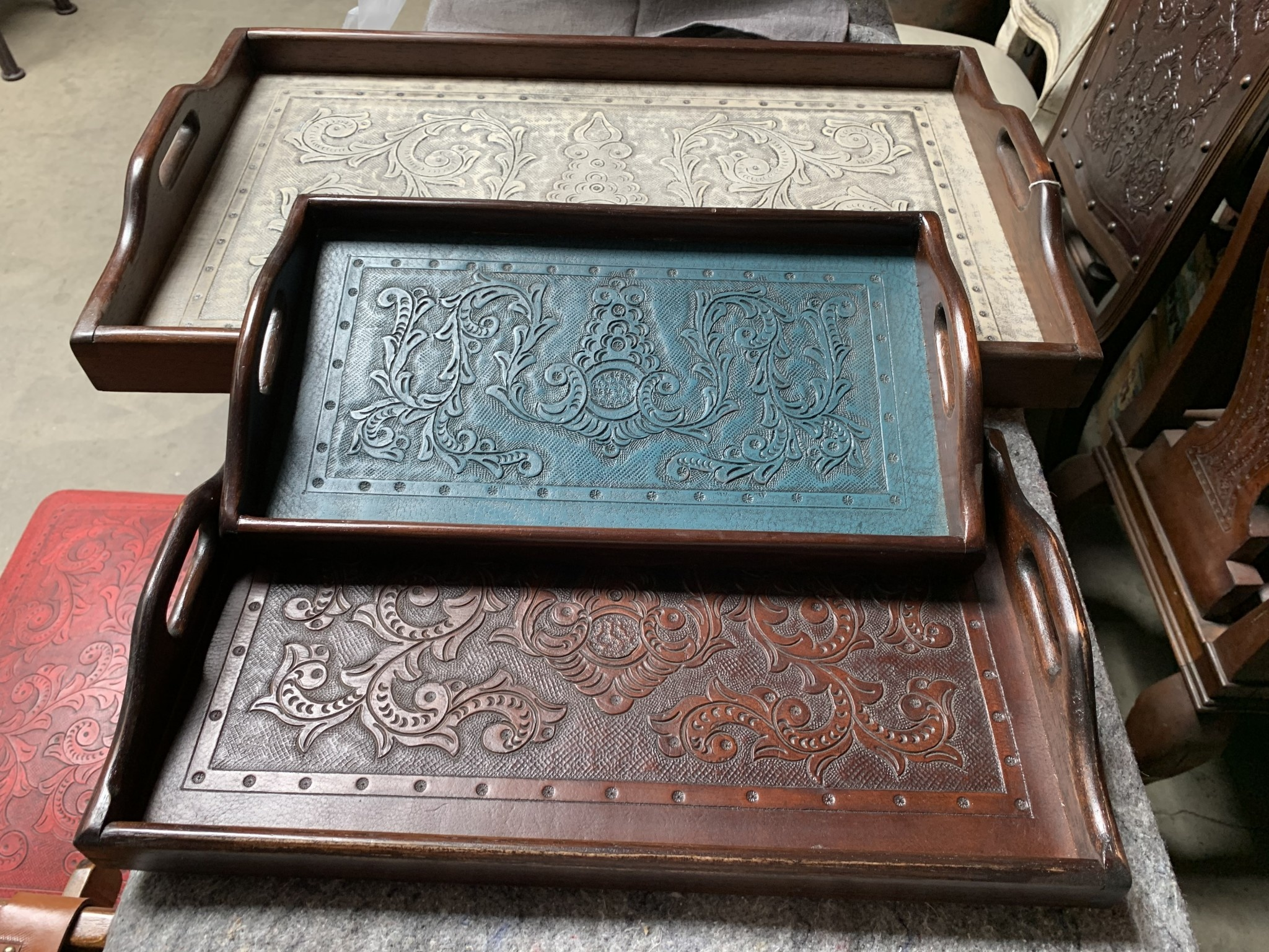 Colonial Leather Embossed Tray
