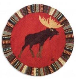 """Cinnamon Moose Rug 36""""round"""