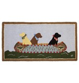 White Water Labs- 2 x 4 Hooked Wool Rug