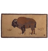Buffalo on Gold Hooked Rug 2'x4'