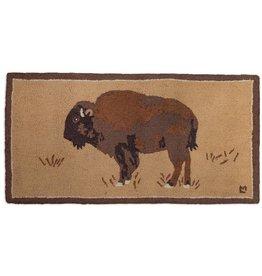 Buffalo on Gold Hooked Rug 2'x4'