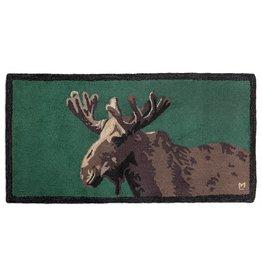 Moose in Velvet on Green Hooked Rug