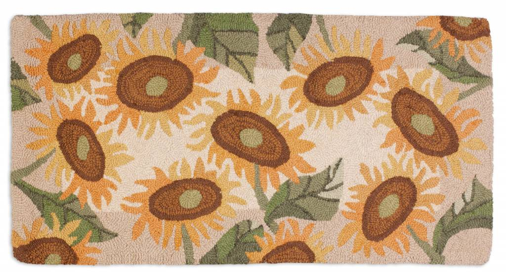 Big Sunflowers on Hooked Rug