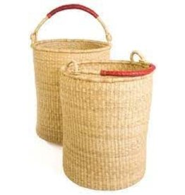 Bolga Laundry Basket w/leather handles