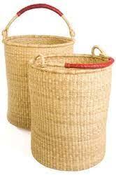 Bolga Laundry Basket w/leather handles