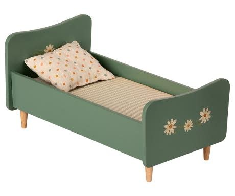 Maileg Wooden Bed, Mini-Mint Blue