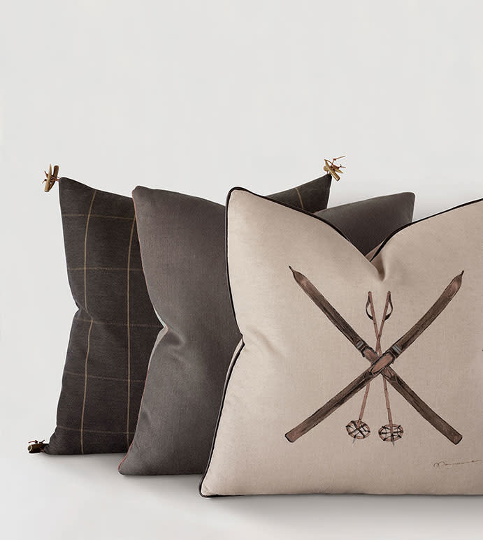 Skis Hand-Painted Decorative Pillow