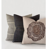 Tree Trunk Rings Hand-Painted Decorative Pillow
