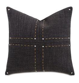 Glimer Charcoal w/hand stitch Decorative Pillow-22x22