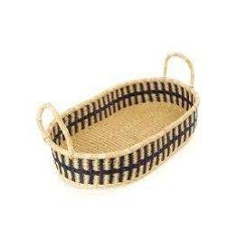 Ghanaian Dark Blue & Natural Shallow Oval Basket w/Handles