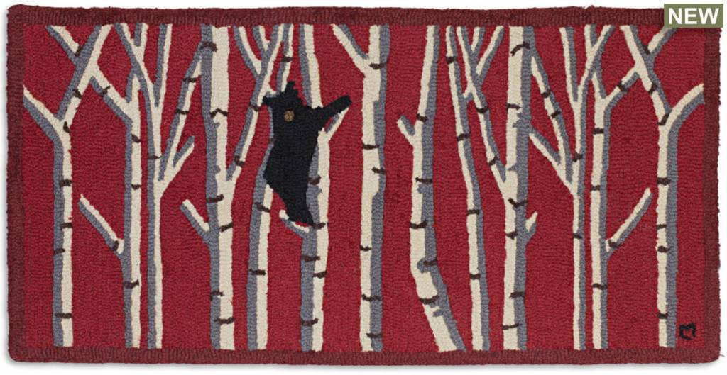 Bear in Birches On Red Rug-2' x 4'