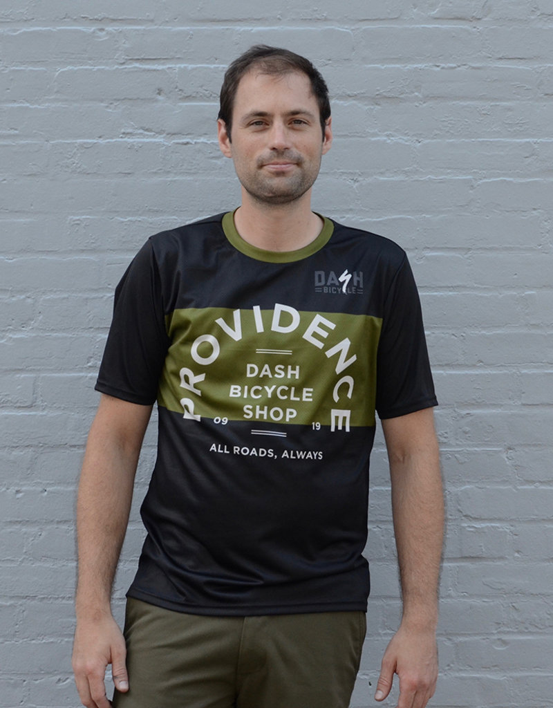 Dash Bicycle Olive Stripe Providence Tech Tee