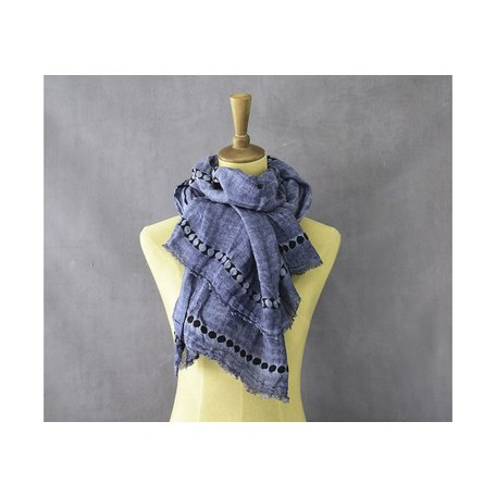 Embroidered Dot Scarf in Blue