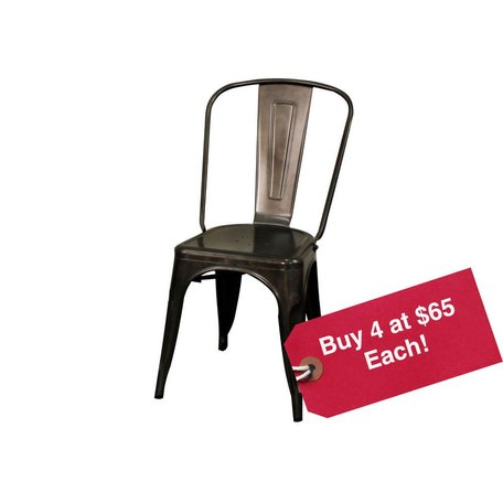 Metropolis Metal Side Chair in Gun Metal