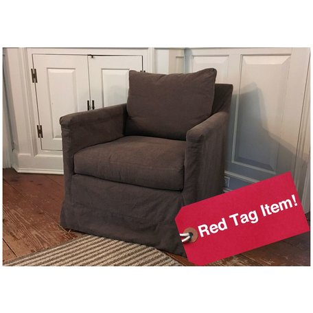 Olive Swivel Chair Slipcovered in Alaska Mocha by Lee Industries C1935-01SW