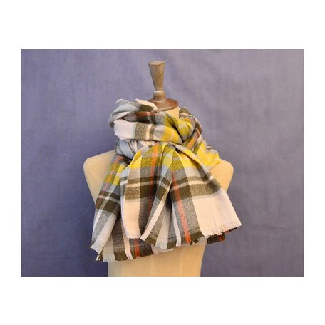 Vintage Color Plaid Scarf in Yellow