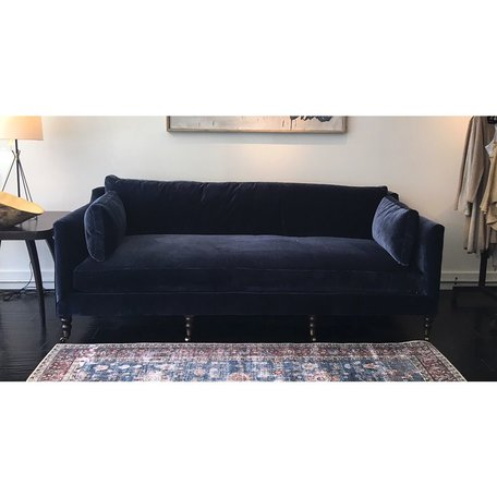 "Monique 90"" Sofa in Navy w/Down Blend Cushions  Chocolate Finish Brass Castors"