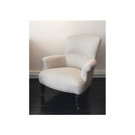 Miranda Chair 1235-01 in French Ticking Charcoal by Lee Industries