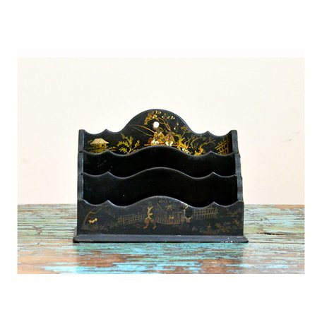 Antique Lacquered Chinese Letter Holder
