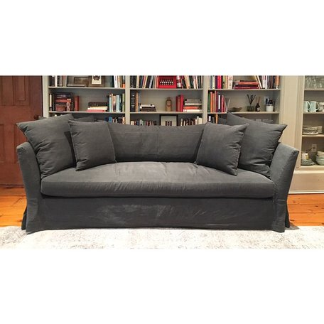 "Seda 100"" Slipcovered Sofa in Molino Slate w/ Feather Cloud Cushions by Cisco Brothers"