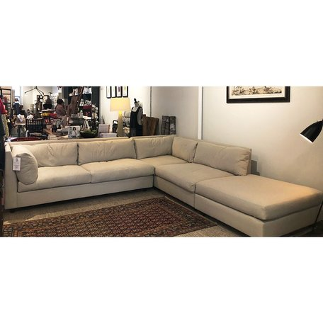 Franco Sectional w/ Ottoman and Eco Down Blend in Ridley Flax by MGBW *GB Floor Model Only*