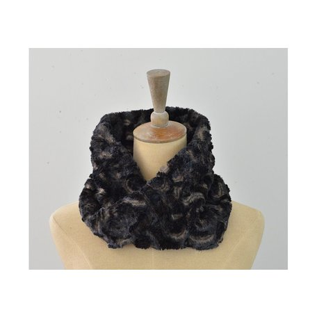 Faux Fur Neck Warmer in Vintage Rose Brown/Black