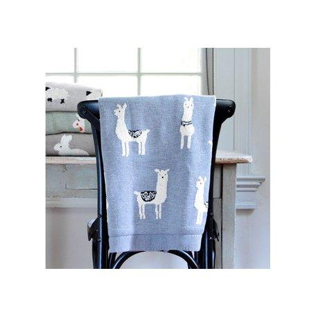 Cotton Knit Llama Blanket