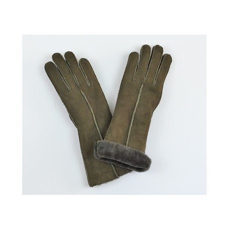 Water Repellent Long Shearling Gloves in Moose